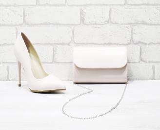 Комплект дамски обувки и чанта еко кожа розови CGUB-26008