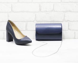 Комплект дамски обувки и чанта еко кожа сини ZZQR-26009