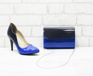 Комплект дамски обувки и чанта еко кожа/лак сини AUWF-26010