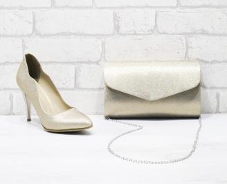 Комплект дамски обувки и чанта еко кожа/брокат златисти MMYT-26011