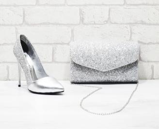 Комплект дамски обувки и чанта еко кожа/брокат сребристи YDQN-26012