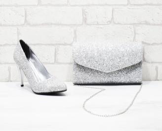Комплект дамски обувки и чанта еко кожа/брокат сребристи XKFY-26014