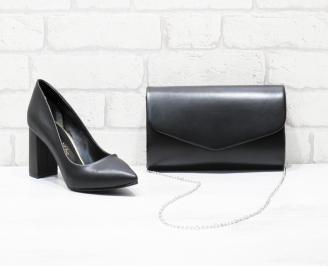 Комплект дамски обувки и чанта еко кожа черни PZUM-26017
