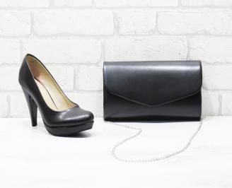 Комплект дамски обувки и чанта еко кожа черни KHXF-26018
