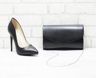 Комплект дамски обувки и чанта еко кожа черни RHGR-26019