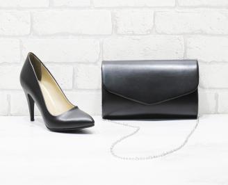 Комплект дамски обувки и чанта еко кожа черни DNMS-26020