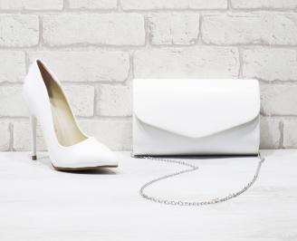 Комплект дамски обувки и чанта еко кожа бели YFPT-26021