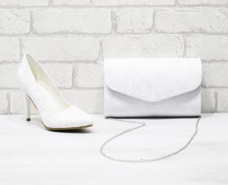 Комплект дамски обувки и чанта еко кожа/дантела бели ZLDL-26022