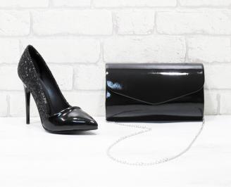 Комплект дамски обувки и чанта еко кожа/брокат черни BIIO-26024