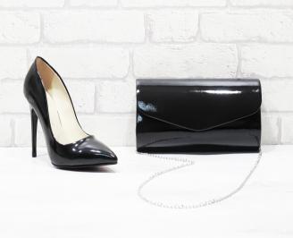 Комплект дамски обувки и чанта еко кожа/лак черни TZTD-26026