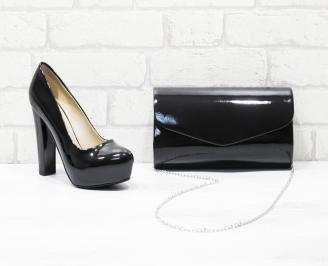 Комплект дамски обувки и чанта еко кожа/лак черни CLIT-26027