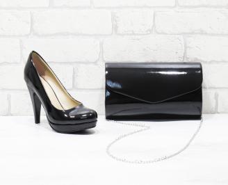 Комплект дамски обувки и чанта еко кожа/лак черни YOPN-26028