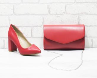 Комплект дамски обувки и чанта еко кожа червени URJS-26029