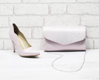 Комплект дамски обувки и чанта еко кожа/текстил пудра YFJL-26030