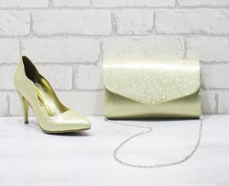 Комплект дамски обувки и чанта еко кожа златисти MAQA-26031