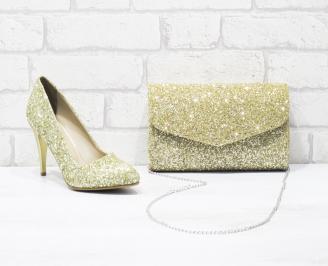 Комплект дамски обувки и чанта еко кожа/брокат златисти RUWI-26032