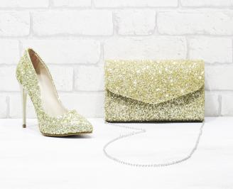 Комплект дамски обувки и чанта еко кожа/брокат златисти FQRF-26033