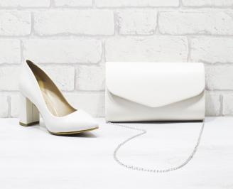 Комплект дамски обувки и чанта еко кожа бежови BXOQ-26035