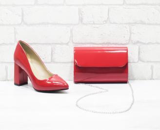 Комплект дамски обувки и чанта еко кожа/лак червени QIQR-26036