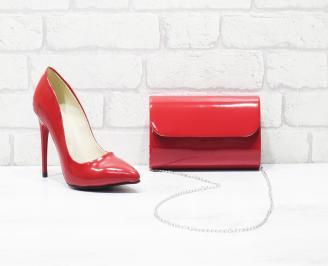 Комплект дамски обувки и чанта еко кожа/лак червени LKAK-26037