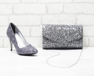 Комплект дамски обувки и чанта еко кожа/брокат сребристи XBAC-26038