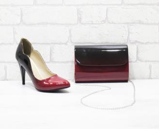 Комплект дамски обувки и чанта еко кожа/лак червени SZON-26040