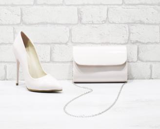 Комплект дамски обувки и чанта еко кожа/лак пудра VVHM-26041