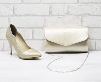 Комплект дамски обувки и чанта еко кожа/брокат златисти PCOA-26043