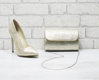 Комплект дамски обувки и чанта еко кожа златисти QCVK-26044