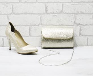 Комплект дамски обувки и чанта еко кожа златисти COWP-26045