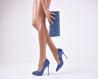 Комплект дамски обувки и чанта еко кожа/брокат сини RSVQ-26046