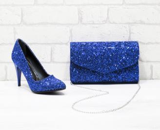 Комплект дамски обувки и чанта еко кожа/брокат сини YNHY-26047