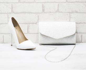 Комплект дамски обувки и чанта еко кожа/брокат бели NDPV-26048