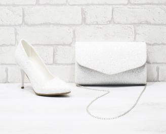 Комплект дамски обувки и чанта еко кожа/брокат бели UJPP-26049