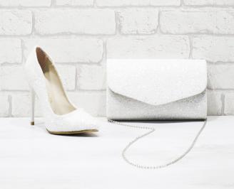 Комплект дамски обувки и чанта еко кожа/брокат бели HUHQ-26050
