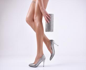 Комплект дамски обувки и чанта еко кожа сребристи OCZZ-26051