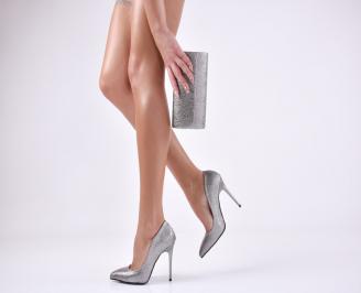 Комплект дамски обувки и чанта еко кожа сребристи KCVY-26052