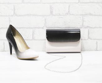 Комплект дамски обувки и чанта еко кожа/лак бежови KHCE-26053