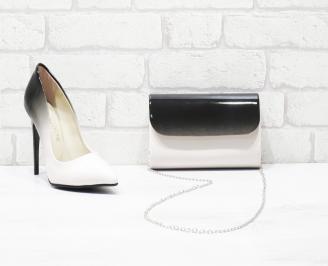 Комплект дамски обувки и чанта еко кожа/лак пудра TELU-26054