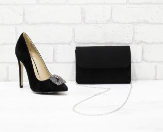 Комплект дамски обувки и чанта еко набук черни KIHY-26057