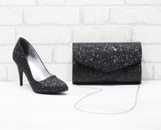 Комплект дамски обувки и чанта еко кожа/брокат черни SIEZ-26059