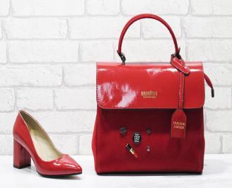 Комплект дамски обувки и чанта еко кожа/лак червени SVNA-26115