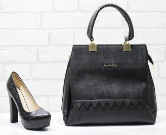 Комплект дамски обувки и чанта еко кожа/лак черни FVYZ-26116