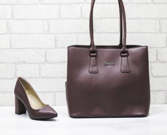 Комплект дамски обувки и чанта еко кожа бордо QQVF-26117