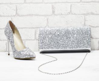 Комплект дамски обувки и чанта брукат/сребристи NBDS-26163
