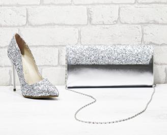 Комплект дамски обувки и чанта брокат/сребристи BVMO-26164