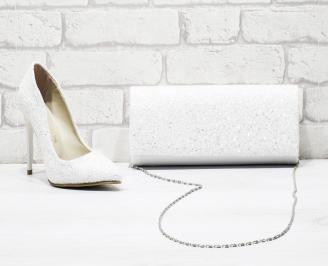 Комплект дамски обувки и чанта брокат/бели HYHP-26165