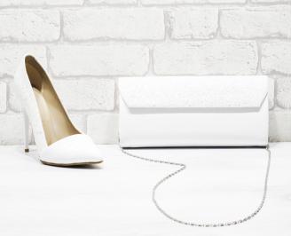 Комплект дамски обувки и чанта брокат/бели MOQD-26166