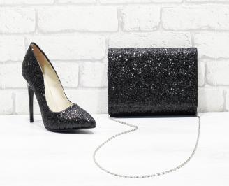 Комплект дамски обувки и чанта брокат/черни HQZI-26167