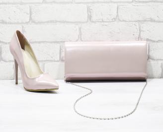 Комплект дамски обувки и чанта еко кожа/розов DSKT-26169